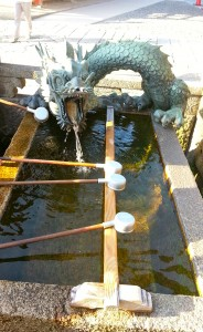 One of the drinking stations, supplied by the Otowa Waterfall.