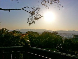 A view from the entrance to the bridge. Kyoto at sunset.