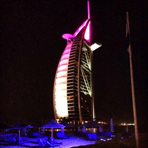 The Burj Al Arab at night.