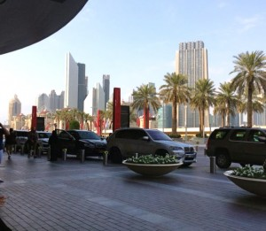 The driveway leading into the Dubai Mall, the world's largest largest mall (based on total area).