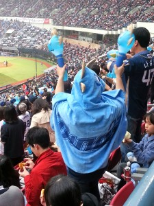 Excited NC Dinos fans dressed in team gear. We really wanted to get a Dino hooded cape but couldn't find a vendor!