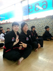 My junior master waiting with me. She was my self-defence partner as well.