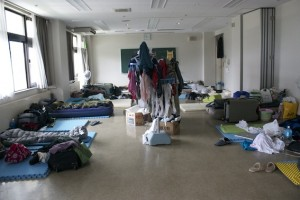 Sleeping arrangements for the All Hands Volunteers.  Photo courtesy of Grace.