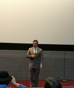 Kevin Lambert taking questions from the test screening audience.