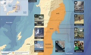 The earthquakes point of origin and the effected areas.