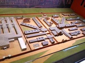 An overview of the prison grounds. The fan shaped structures are the exercise facilities for prisoners.