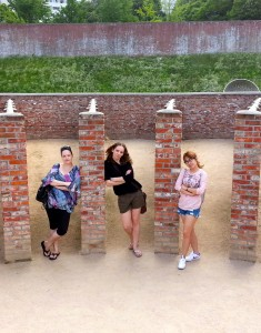 """Myself, Mairi and Pam get a taste of the exercise facility. To prevent communication between inmates, the exercise area was made into rows divided by stone walls and prisoners had to """"exercise"""" separately."""