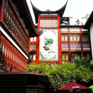 "Some artwork in the ""Old Shanghai"" district."