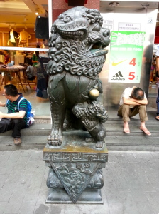 Taking a rest in the Old Shanghai district.