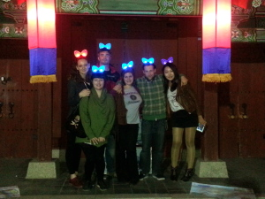 The gang at the fortress gates. Light-up ears were used as tracking devices to find each other in the big crowds :)