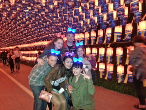 All the chingus together under the tunnel made of lantern wishes.  Back row from L-R: Mairi, Jon and Sarah.  Front row: Ryan, June and myself.