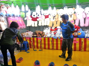 Carnival games at the festival.