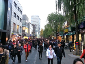 Busy street of Insadong.