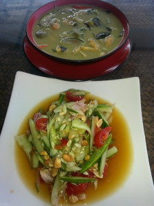 My first meal in Thailand. Vegetarian green curry and cucumber salad. Amazing.