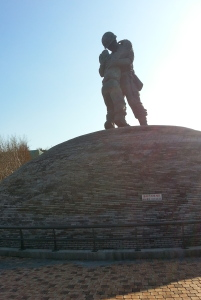 The Statue of Brothers monument, depicting a true story of two brothers who fought on opposite sides of the Korean war and reunited by chance on the battlefield.