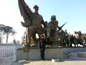 A closer look at the Korean War Monument.
