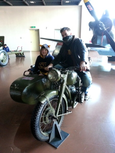 Jon and I in a sidecar motorcycle. Starsky & Hutch or Wallace & Gromit?