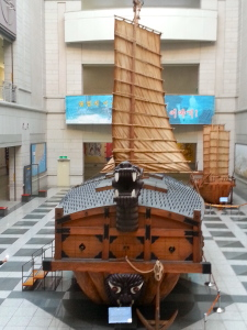 A smaller scale reproduction of the famous Turtle Battleship designed by Admiral Yi Sun-Sin during the Imjin War.
