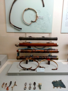 Old Korean archery tools: Bows, finger tabs and quivers.