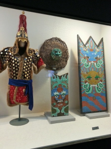 An ancient uniform and shields of the Korean troops of long ago.