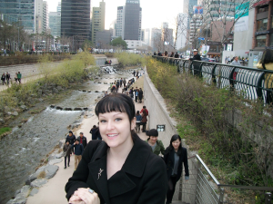 Me at the Cheonggyecheon stream, right outside of the Insadong main strip.