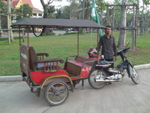 Open tuk-tuk, often seen in places like Thailand, Vietnam and Cambodia. Photo courtesy of angkortuk.com.