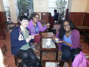 Myself, Bal and Kamila at the famous Thuoc La Dien Tu restauant. Bal opted for a hot chocolate but Kamila tried an egg coffee and it was delicious!