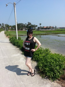 Taking a walk near some rice paddy fields.