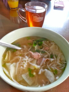 Homemade Pho for breakfast, made at the Moon Homestay staff.