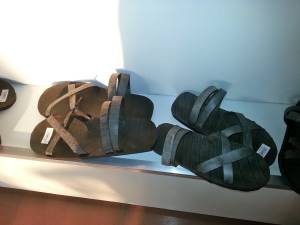 Sandals made by the Vietnamese from scrap tire rubber.