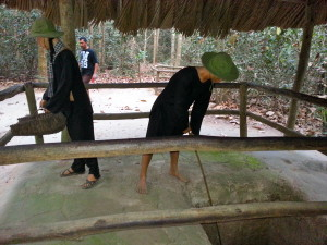 A replica shows how the Vietnamese began making the tunnels decades before the Vietnam war in attempts to evade French occupiers.