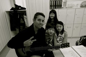Ryan does a quick performance at an English academy in Hopyeong, South Korea.