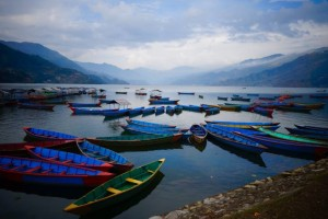 Pokhara Nepal fishing boats.
