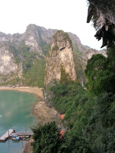 Outside of Sung Sot Cave on Ha Long Bay, Vietnam.