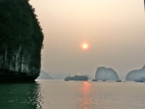 Dusk on Halong Bay, Vietnam.