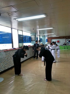 About to begin hoshinsul (self defence) with my assistant master as my partner.