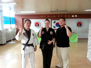 The grandmaster (left), myself and my master (right).