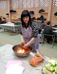 Me at a kimchi making class in the fall of 2013.
