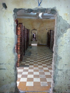 Soldiers broke down the walls between former classrooms so they could see straight through and keep a better eye on prisoner.