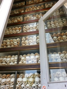 Inside the memorial: floor to ceiling skulls of those who were murdered in the killing fields.