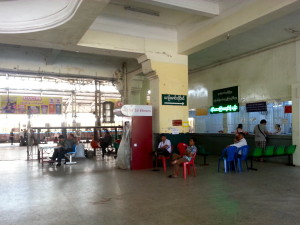 Inside the main entrance of Yangon train station.